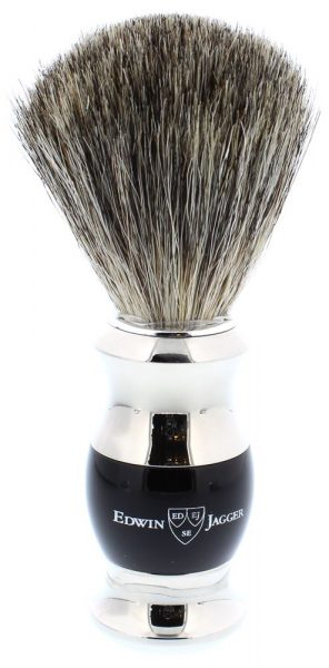 Edwin Jagger Pure Badger - Ebony / Nickle plated